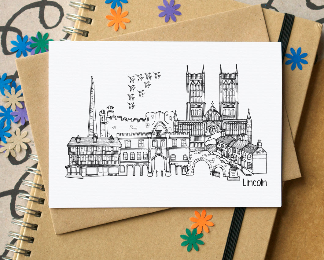 Lincoln Skyline Landmarks Greetings Card