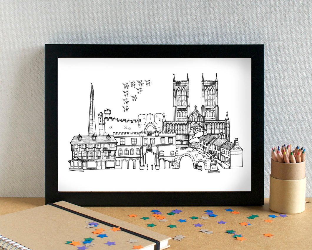 Lincoln Skyline Landmarks Art Print - can be personalised