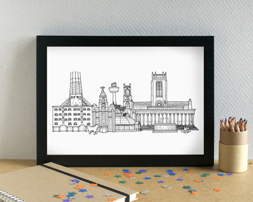 Liverpool Skyline Landmarks Art Print - can be personalised
