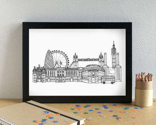 London Skyline Landmarks Art Print - can be personalised
