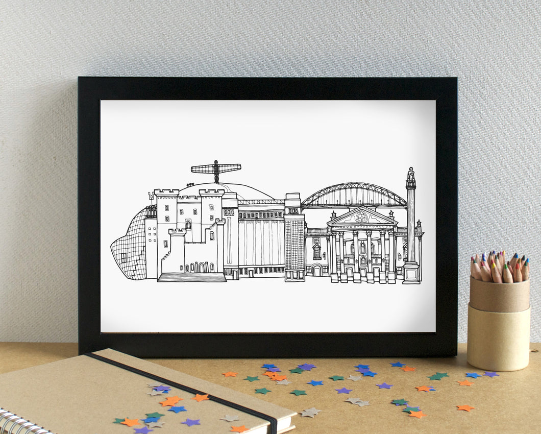 Newcastle Skyline Landmarks Art Print - can be personalised