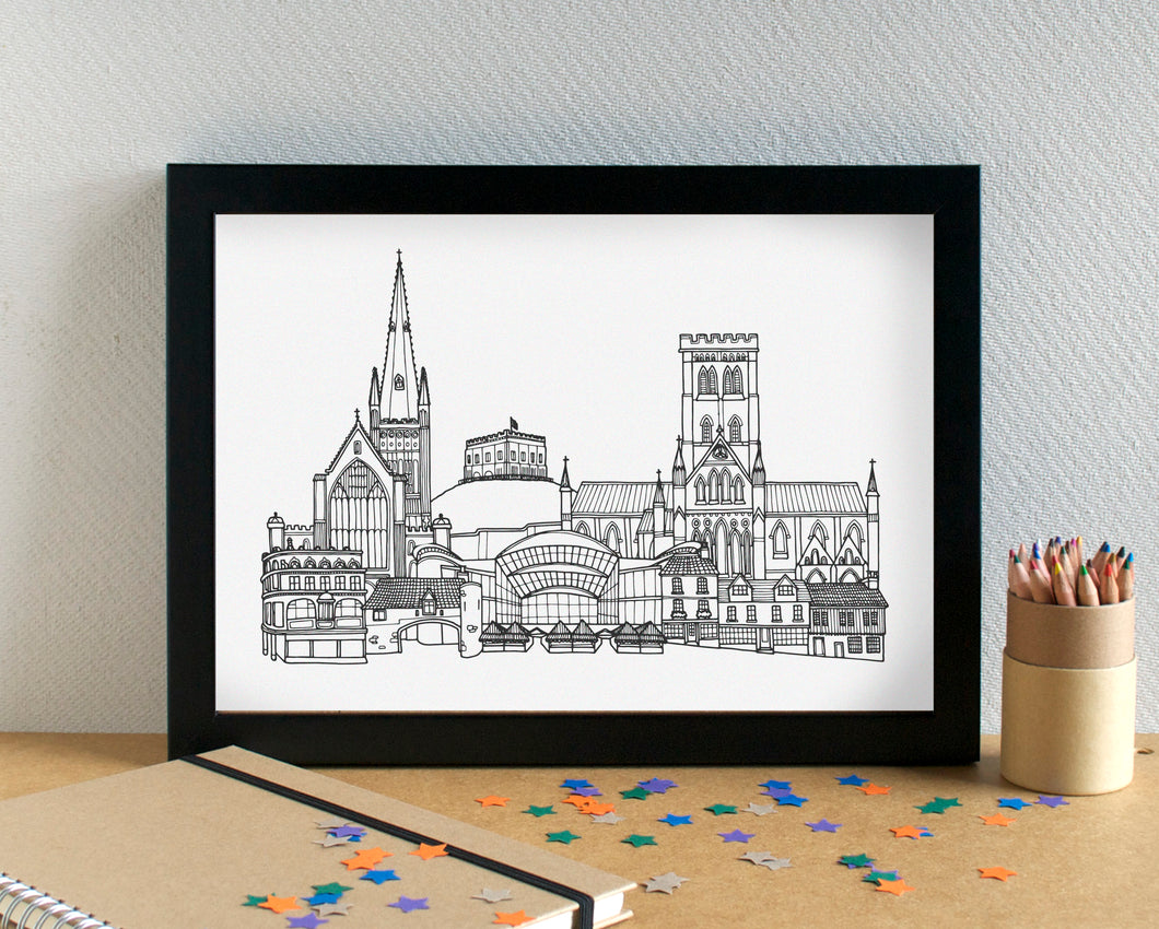 Norwich Skyline Landmarks Art Print - can be personalised