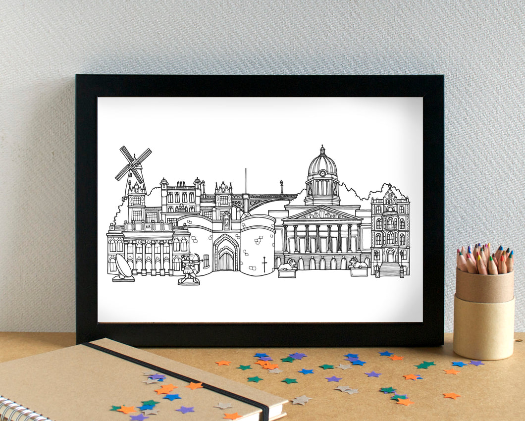 Nottingham Skyline Landmarks Art Print - can be personalised