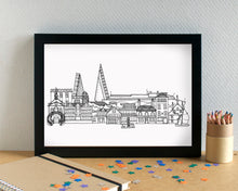 Poole Skyline Landmarks Art Print - can be personalised