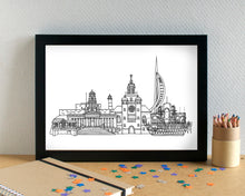 Portsmouth Skyline Landmarks Art Print - can be personalised