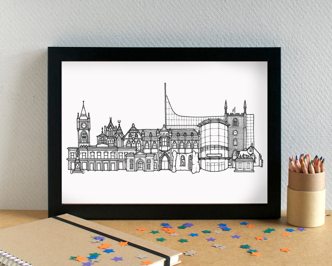 Reading Skyline Landmarks Art Print - can be personalised