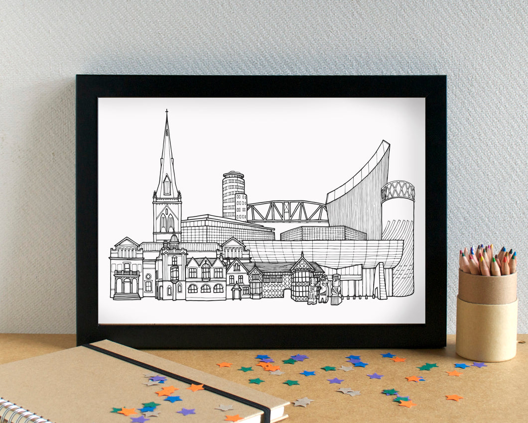 Salford Skyline Landmarks Art Print - can be personalised