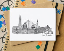 San Francisco Skyline Landmarks Greetings Card