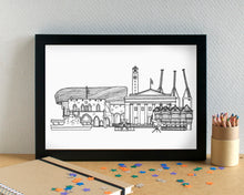 Southampton Skyline Landmarks Art Print - can be personalised