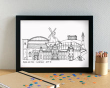 Sunderland Skyline Landmarks Art Print - can be personalised