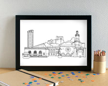 Swansea Skyline Landmarks Art Print - can be personalised