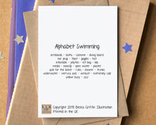 Swimming Alphabet Greetings Card