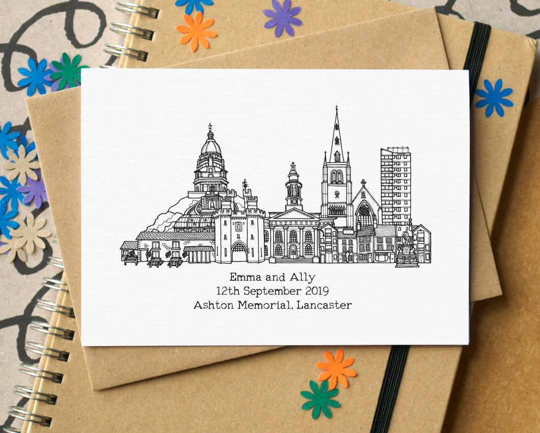 Wedding Personalised Skyline Greetings card