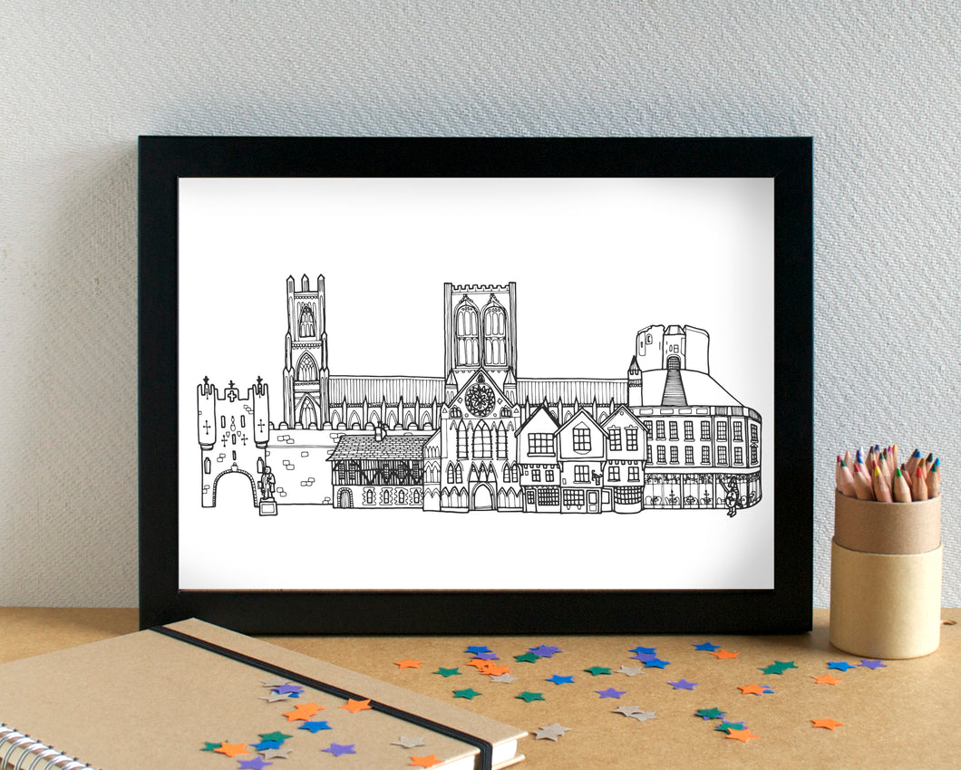 York Skyline Landmarks Art Print - can be personalised