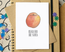 "Funny ""Peach for the Stars"" Good Luck Card"