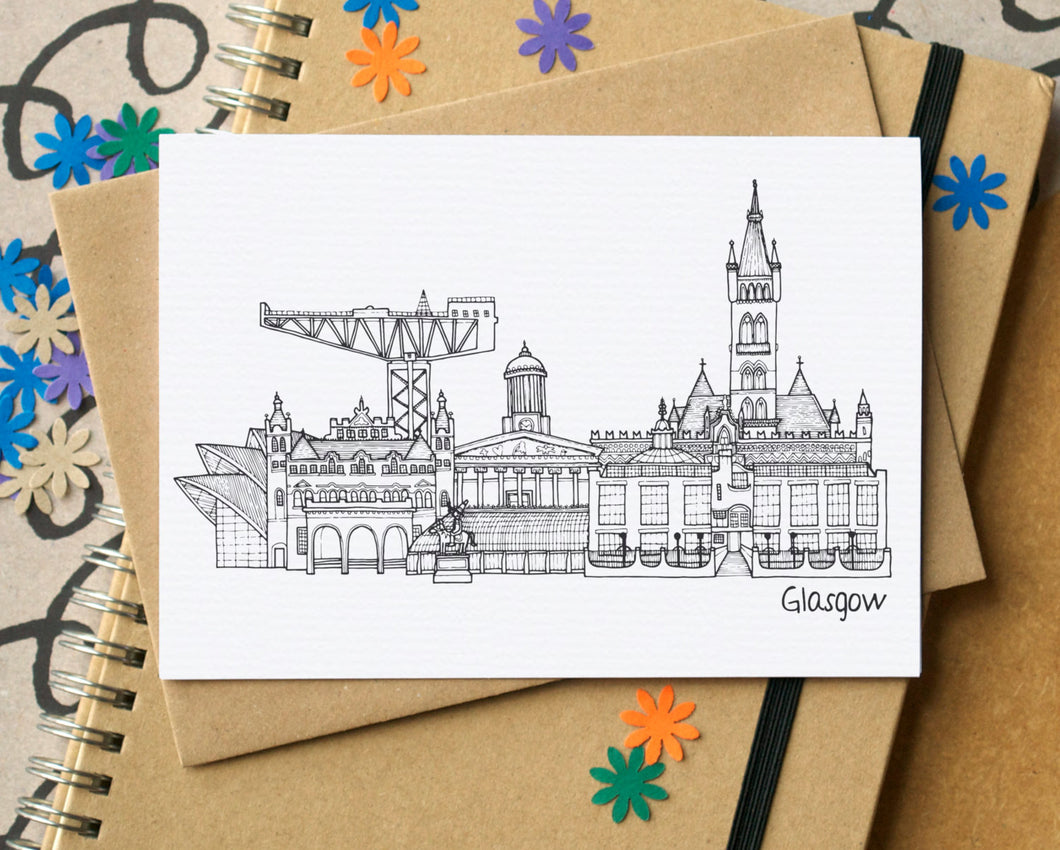 Glasgow Landmarks Skyline Greetings Card