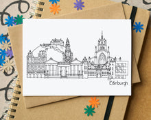 Edinburgh Landmarks Skyline Greetings Card