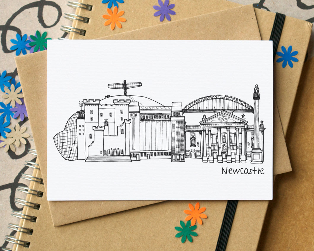 Newcastle Skyline Landmarks Greetings Card