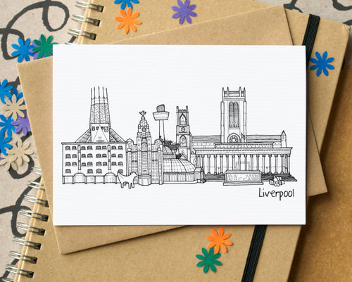 Liverpool Skyline Landmarks Greetings Card