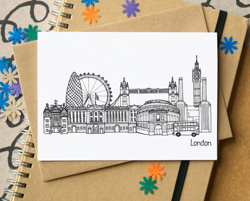London Skyline Landmarks Greetings Card