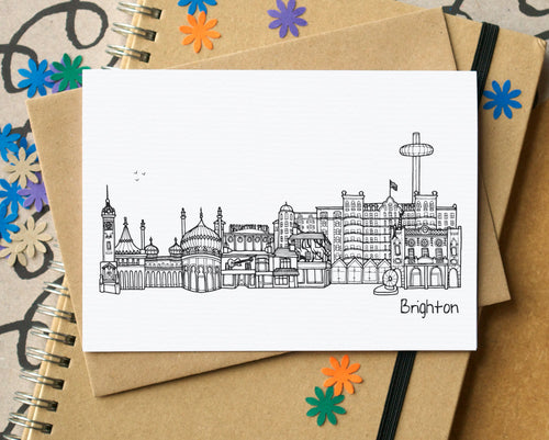 Brighton Skyline Landmarks Greetings Card