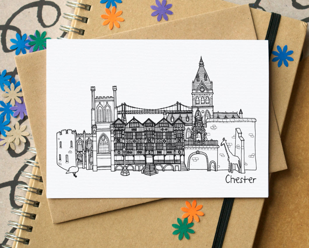 Chester Landmarks Skyline Greetings Card