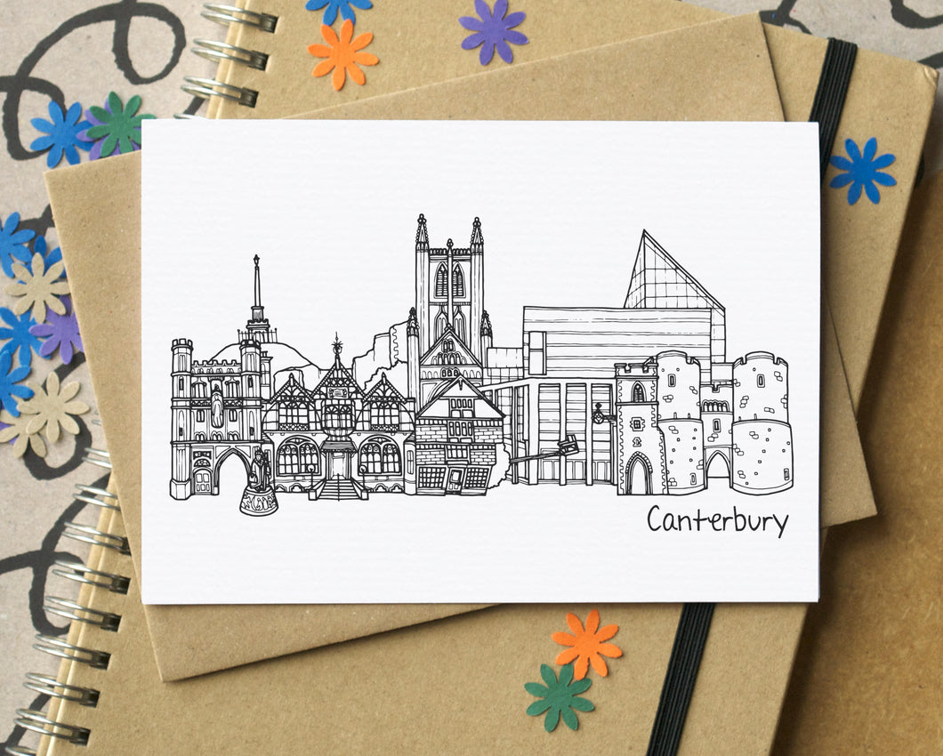 Canterbury Landmarks Skyline Greetings Card