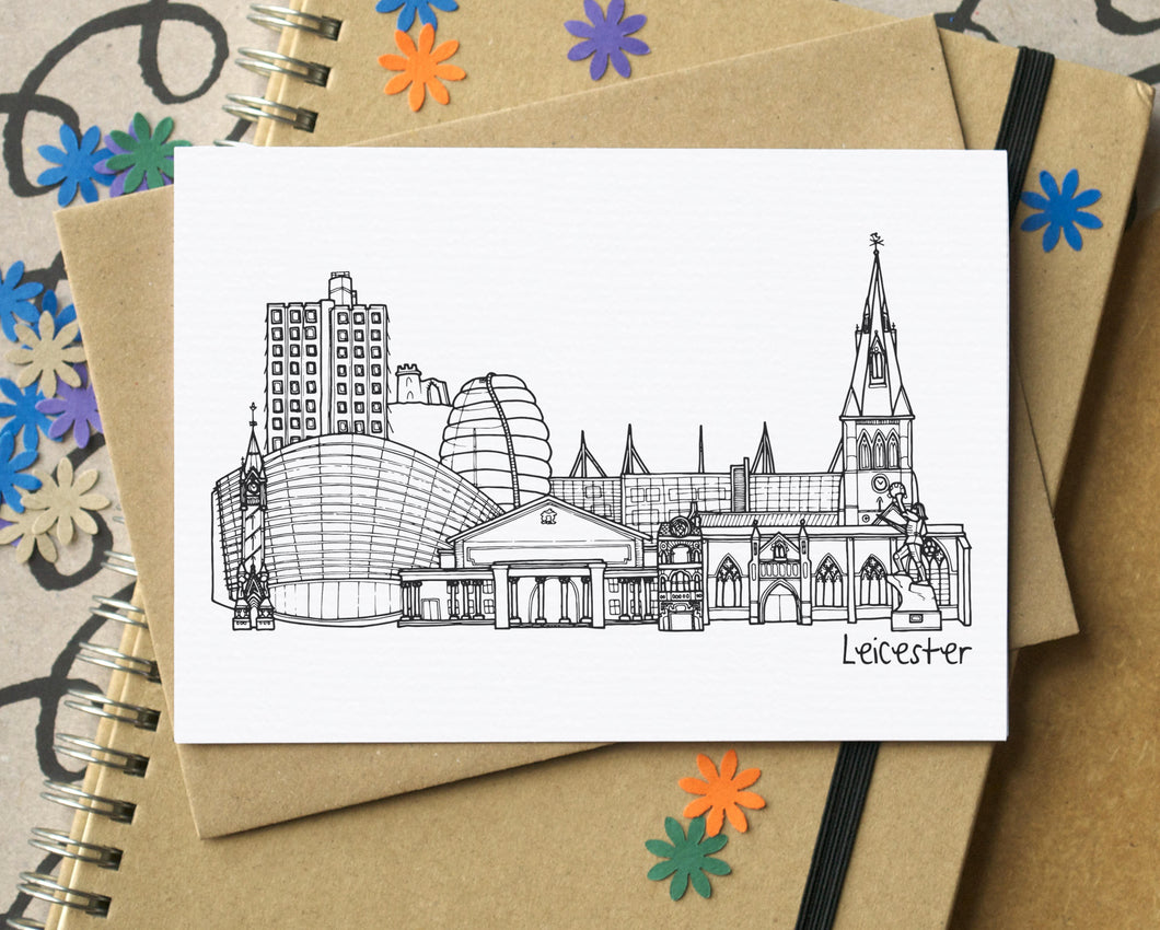 Leicester Skyline Landmarks Greetings Card