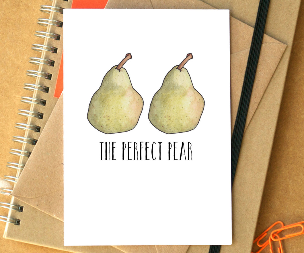 Funny 'Perfect Pear' Wedding or Engagement Card