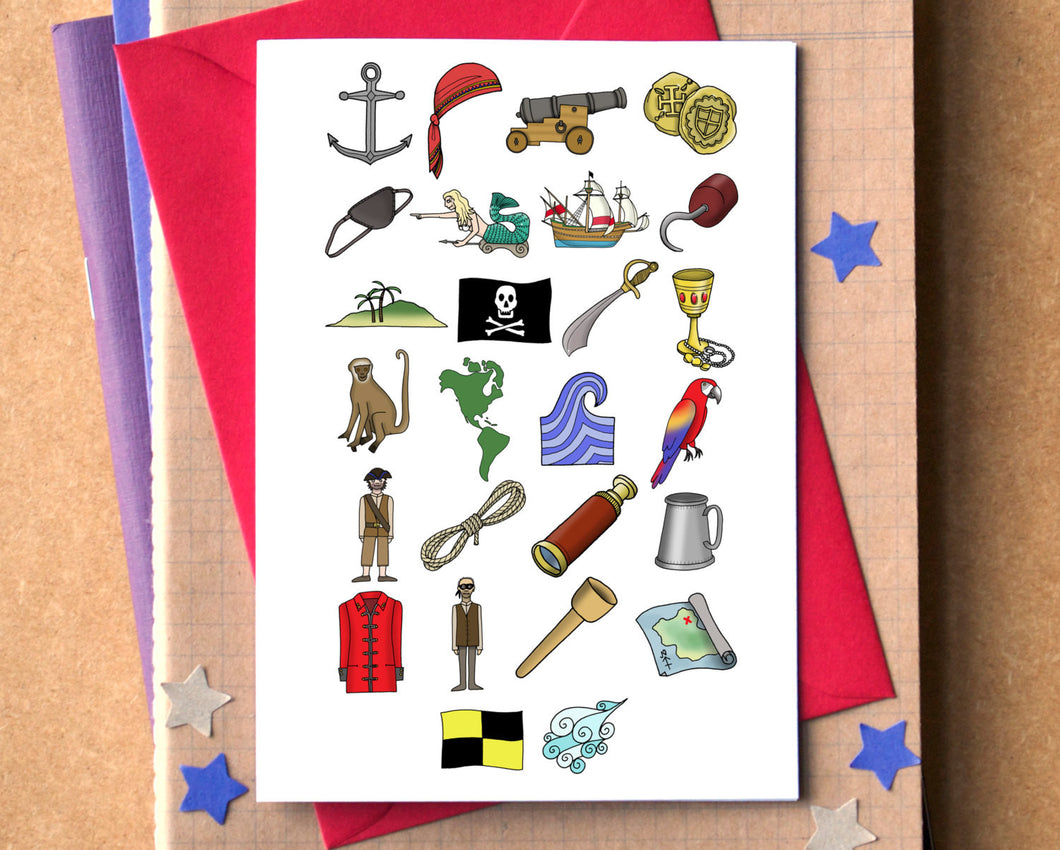 Pirates Alphabet Greetings Card - pirate birthday card - Alphabet of Pirates