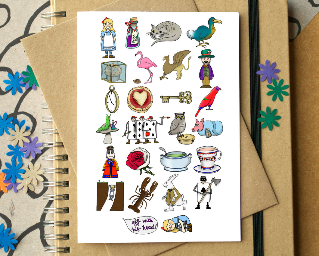 Alice in Wonderland Alphabet Greetings Card