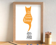 A Cat Makes A House A Home Print - can be personalised - unframed