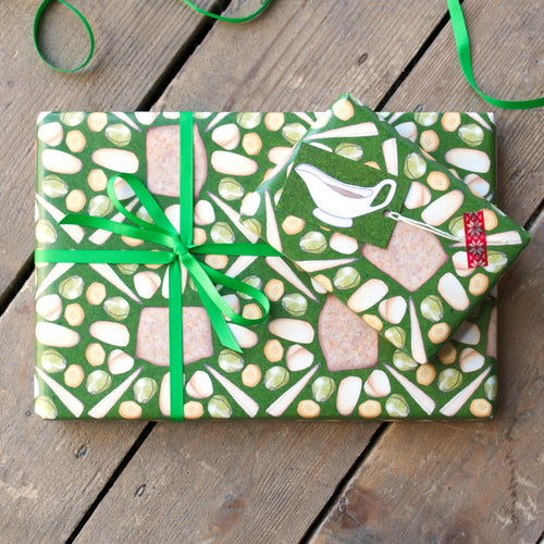 Vegetarian Christmas Dinner Wrapping Paper