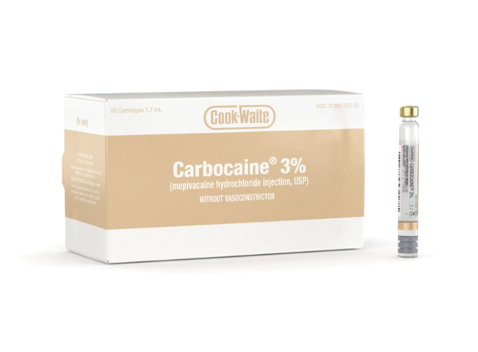 CARBOCAINE CARTRIDGES 3% PLAIN 50/BX