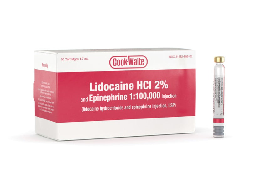 LIDOCAINE HCL 2% W/EPI 1:100,000 1.7ML (RED) 50/BX