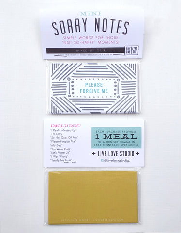Mini SORRY Notes - Set of 9