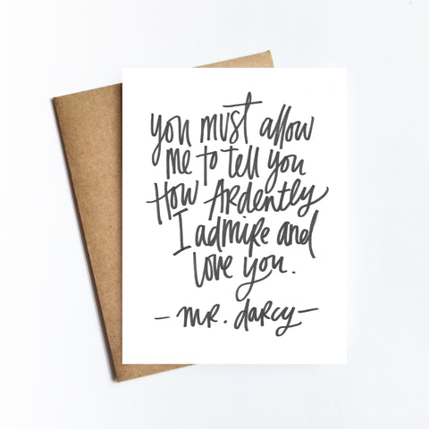 Darcy Quote - NOTECARD