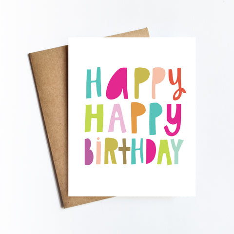 Happy Happy Birthday - NOTECARD