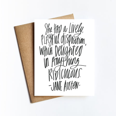 Jane Austen Quote - NOTECARD