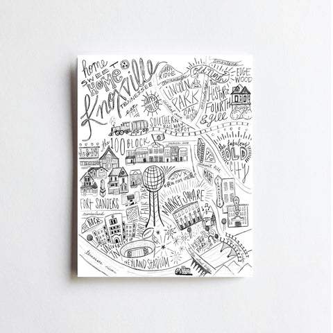 Knoxville MAP hand drawn original PRINT