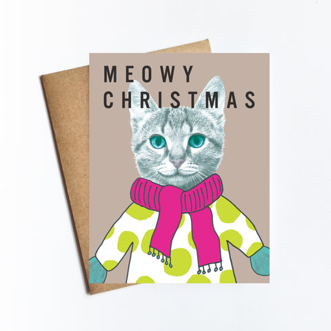 Meowy Christmas - HOLIDAY NOTECARD