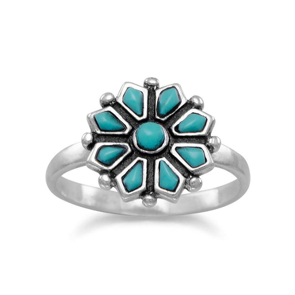 Reconstituted Turquoise Flower Ring