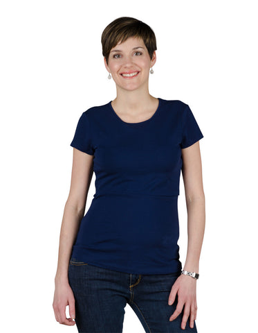 Nursing t-shirt  Charlotte in deep sea blue