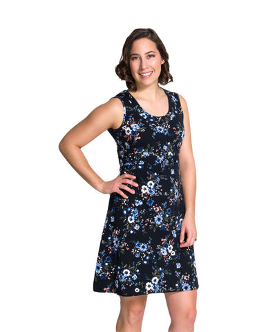 Nursing dress Laura in black floral