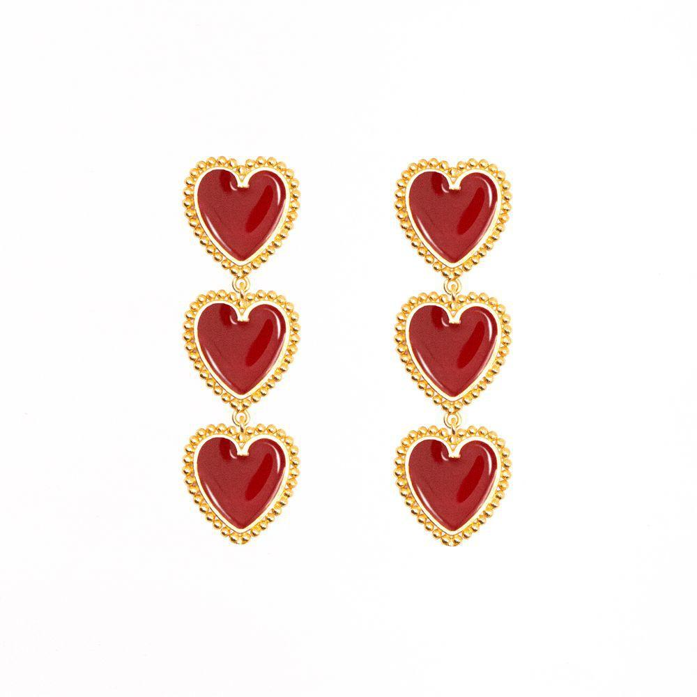 ClaudiaG 3 Red Hearts Earrings