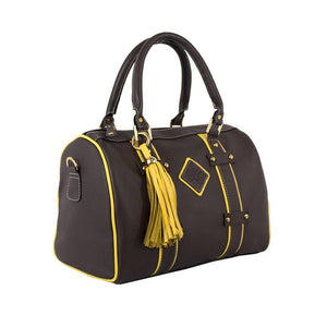 ClaudiaG Make a Statement Handbag-Chocolate/Citric Yellow