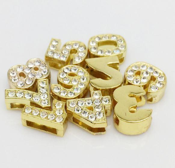 ClaudiaG Pavé Numbers -Gold Charms