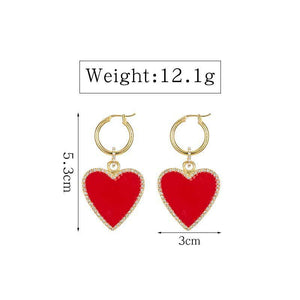ClaudiaG Red Heart Drop Earrings