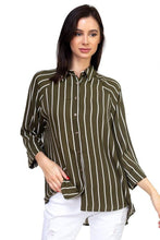 ClaudiaG Stripe Button Down Shirt -Olive