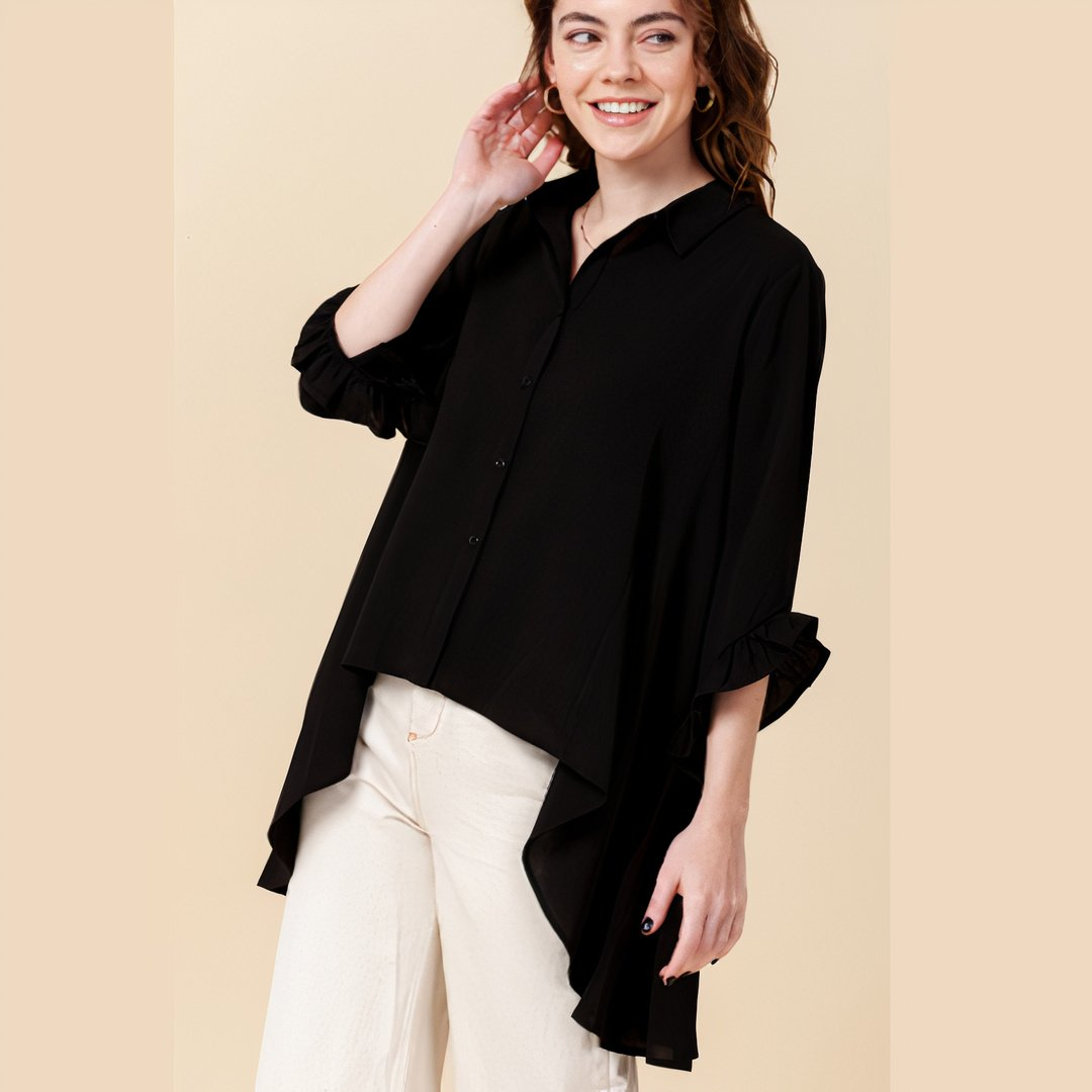 ClaudiaG Wide Button Down -Black